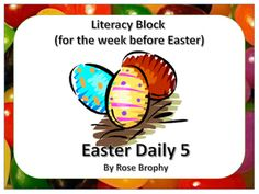 Everything for that final week before Easter. This product follows Daily 5 schedule for your Literacy block. It has Listening to reading, Word Work, and Work on Writing activities. All you need to do is print, laminate and have a selection of children's literature available for Read to Self and Read to Someone.