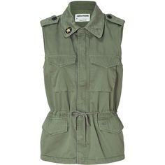 ZADIG & VOLTAIRE Khaki Vest With Studded Back ($189) ❤ liked on Polyvore