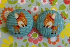 Little Fawn Fabric Button Hair Bobbles.