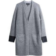 Rag & Bone/Jean Cardigan found on Polyvore featuring tops, cardigans, jackets, grey, merino wool cardigan, ribbed cardigan, gray top, long sleeve tops and grey top