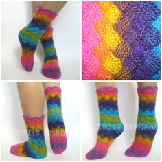 носки энтерлак, лапти, плетенки, повороное вязание, цветовые решения, переход цвета, радуга, ярко, вязание энтерлак, ENTRELAC, Entrelac knitting