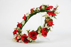 Flower crown of red roses, grey hydrangea petals and white star orchids - Weddings, Bridal, Bridesmaid Silk Roses, Red Roses, Red Rose Flower, Flower Crowns, Green Leaves, Hydrangea, Rustic Wedding, Orchids, Floral Wreath