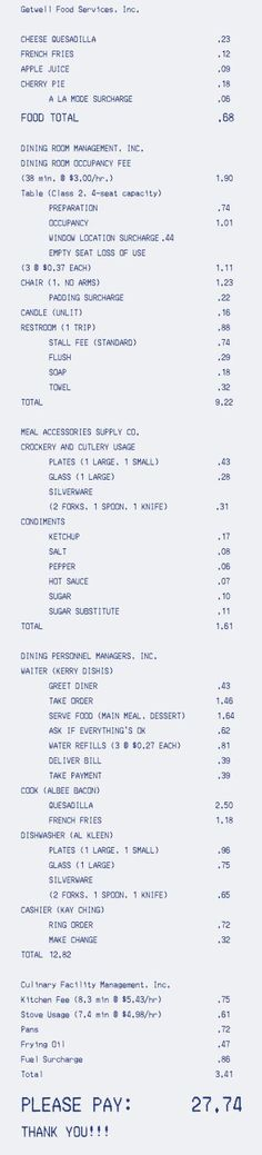hospitals restaurants - If restaurants billed like hospitals, going out to eat would be a downright miserable experience.