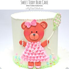 Precious Teddy Bear Cake-Free Cake Video Tutorial by MyCakeSchool.com! This cake design is perfect for baby showers and young birthdays!
