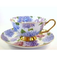 Gorgeous Hydrangeas Teacup and Saucer Trimmed with Gold