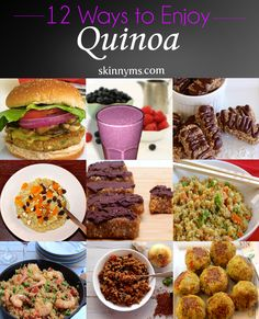 12 Quinoa Recipes for Weight-Loss. Quinoa is naturally low in fat and calories and high in protein, making it ideal for weight-loss. I eat quinoa everyday! Healthy Recipes, Clean Eating Recipes, Healthy Cooking, Diet Recipes, Healthy Snacks, Vegetarian Recipes, Healthy Eating, Cooking Recipes, Superfood Recipes