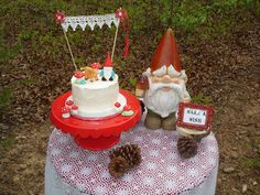Sweet little cake table for a gnome party