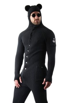 Shop for mens bear onesie with bum flap on Differio. Browse our adult animal onesies with back flap and one piece jumpsuits. Buy mens drop seat onesies here! Long Underwear, Underwear Brands, Gay Costume, Adult Onesie Pajamas, Mens Onesie, Designer Suits For Men, Bear Men, Overall, Wearing Black