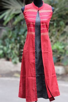 { malar: the chettinad festival } a high-collared jacket in hand loom fabric, handwoven in karaikudi. these one-of-a-kind jackets have been tailored in medium Salwar Designs, Blouse Designs, Chudidhar Designs, Kurta Patterns, Dress Patterns, Indian Attire, Indian Wear, Indian Dresses, Indian Outfits