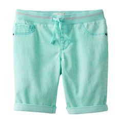 Girls 7-16 SO® Paint Splatter Ribbed Waist Bermuda Shorts, Size: 12, Turquoise/Blue (Turq/Aqua)