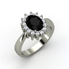 Wonderful Princess Kate inspired ring.. Oval Black Onyx Sterling Silver Ring with Diamond | Diana Ring | Gemvara