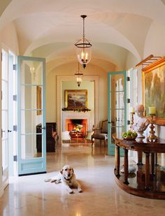 Simple Elegance: Holiday Décor in a Mediterranean-style Home - Traditional Home® Aqua exterior doors