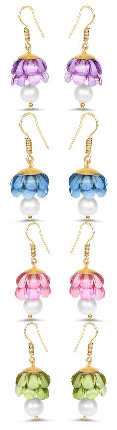 Purple Stone Gold Plated Brass Jhumki Pearl Earrings Johareez.com