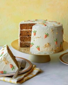 Our Carrot Cake with Cream Cheese Frosting is a classic carrot cake recipe with delicious and creamy cream cheese frosting. A very simple and delicious cake recipe that is a must have for everyone! | cake recipes | carrot cake recipe | easter desserts | mothers day dessert | mothers day cake | #Cake #dessert #recipe #carrotcake