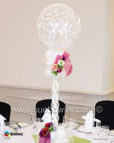Elegant Table Centrepiece created by Sue Bowler CBA. Wedding Series 2
