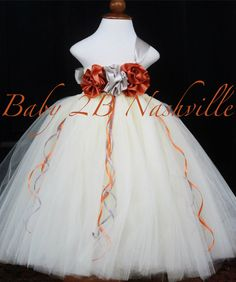 Flower Girl Dress in Ivory Copper and Silver by Baby2BNashville, $103.00