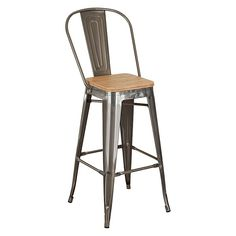 Improve your counter seating area with the MODWAY Promenade Bar Stool. Featuring a wooden seat, this stool adds a touch of richness to any home. Built with a metal frame, it has a modern, stylish look that can suit any kitchen. It has a full back, pr Metal Counter Stools, Wooden Bar Stools, Bar Stool Chairs, Brown Bar Stools, High Bar Stools, Metal Chairs, Eclectic Decor, Modern Industrial, Adulting