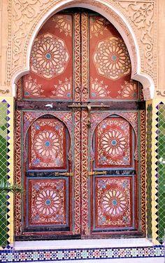 Superb Moroccan doors in Marrakech, Morocco. #Moroccan #Architecture #Interiors…