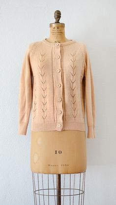 vintage 1950s dusty peach cardigan sweater | Peach Sucre Sweater from Adored Vintage