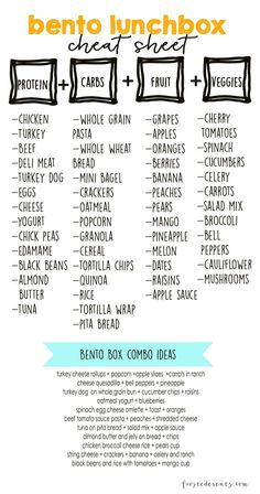 Bento Lunch Box Cheat sheet for a healthy meal prep! Bento Lunch Box Cheat sheet for a healthy meal prep! Lunch Snacks, Lunch Recipes, Healthy Recipes, Bento Lunchbox, Work Lunches, Healthy Lunch Boxes, Diet Recipes, Healthy Lunches For Kids, Lunch Foods List