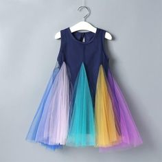 Toddler Girls Dress Rainbow Color Block Sling Dress – Kidenhouse Kids Dress Wear, Kids Gown, Girls Lace Dress, Toddler Girl Dresses, Toddler Girls, Dress Girl, Toddler Hair, Baby Dresses, Dresses For Toddlers