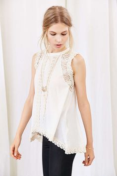 Ecote Crochet Tunic Top - Urban Outfitters