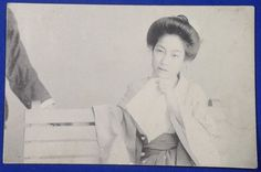 1900's  Japanese Postcard : Photo of A Lady in Summer Kimono Sitting  on the Bench girl woman in yukata / vintage antique old art card / Japanese history historic paper material Japan