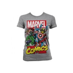 Marvel Comics Heroes Girly T-Shirt Grå ❤ liked on Polyvore featuring tops, t-shirts, 10. tops., shirts, marvel comics shirt, marvel comics t shirts, marvel comics, t shirts and shirts & tops