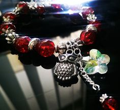 Red Crackle Glass Crystal Antique Tibetan by DesignsByCheree, $15.00