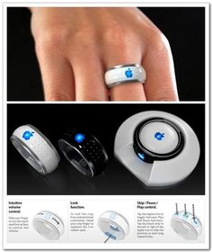 Apple Invention... iRing. Connects to your iPhone, iPod, or iTouch and you can control what you listen to from this little invention!
