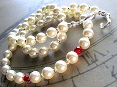 vampire bite pearl necklace: Swarovski pearl necklace with red crystals, pearl strand necklace, goth necklace, rockabilly, vampire wedding on Etsy, $26.00