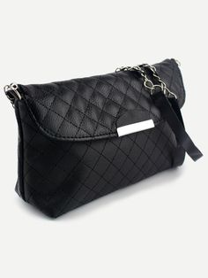 Faux Leather Quilted Flap Bag - Black Mobile Site