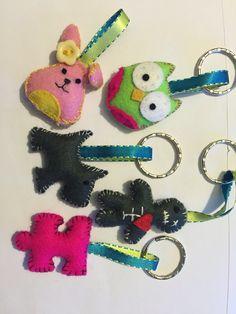 Handmade felt feltie keyrings
