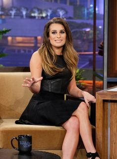 Lea Michele | tonight show | leather crop top | high-waisted black skater skirt | amazing hair and makeup | shades of brown eyeshadow, eyeliner and highlights and lowlights
