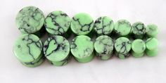 Organic Green Turquoise Stone Ear Plugs Gauges Pairs Natural Polished Flared Starting @ $6.40