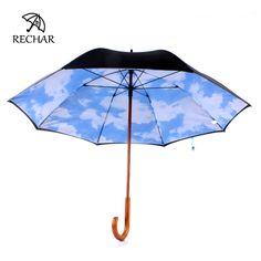 RECHAR Women's umbrellas rom the rain New Double layer Blue Sky Wood handle Umbrella cane Sunshade umbrella Summer Parasol Y70