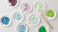 cool color palette frostings http://www.bettycrocker.com/tips/tipslibrary/baking-tips/how-to-color-frosting-like-a-pro