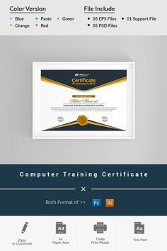Computer Training Certificate Template with regard to Training Certificate Template Word Format - Great Professional Templates Certificate Design Template, Training Certificate, Logo Creation, Training And Development, Design Bundles, Web Design, Graphic Design, Advertising Poster
