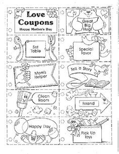 This coupon book is a very special gift to give to mom. The students love to take their time coloring with markers or crayons and then picking out their favorite ribbon and putting it together. This is just one item we make for our annual Mother& Day tea. Diy Gifts For Mom, Mothers Day Crafts For Kids, Diy Mothers Day Gifts, Fathers Day Crafts, Mothers Day Cards, Mother's Day Coupons, Love Coupons, Mother's Day Projects, Mother's Day Activities