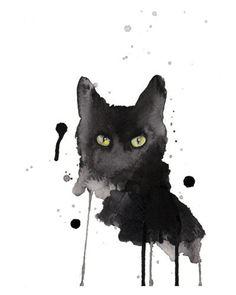 Watercolor Animals, Watercolor Print, Watercolor Paintings, Watercolor Postcard, Black Watercolor Tattoo, Cat Watercolour, Cat Paintings, Easy Watercolor, Original Paintings