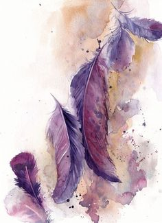 Feathers painting, original watercolor painting, painting of feathers, purple pink watercolour art, feathers illustration by canotstop on etsy Feather Drawing, Feather Wall Art, Watercolor Feather, Watercolor Walls, Feather Painting, Watercolor Paintings, Original Paintings, Painting Art, Peony Painting