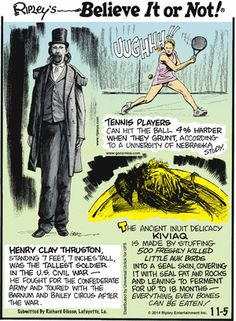 Today on Ripley's Believe It or Not - Comics by John Graziano Ripley Believe It Or Not, Non Sequitur, Calvin And Hobbes, Tennis Players, Comic Strips, Cartoon, Comics, Memes, Jokes