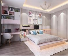 Teen bedroom designs - 121 fantastic small apartment bedroom college design ideas and decor page 34 Room Design Bedroom, Teen Bedroom Designs, Room Ideas Bedroom, Bedroom Decor, Bedroom Lighting, Bedroom Ideas For Small Rooms Women, Small Apartment Bedrooms, House Ideas, Woman Bedroom