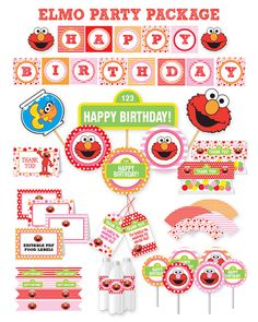 Elmo Inspired Party Package INSTANT DOWNLOAD Red Pink And Orange Dots Stripes