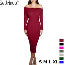 Fashion Long Sleeve Off Shoulder Slash Neck Sexy Club Women Dress Slim Bodycon Knitted Sweater Knee-Length Party Night Dresses(China (Mainland))