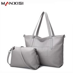 MANXISI Brand Luxury Handbags Women bag Leather Bags Casual Tote Gray Shoulder bags Solid Soft Zipper Composite Bag SET (32780362418)  SEE MORE  #SuperDeals