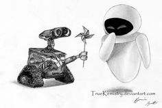 drawings of wall-E | Wall.e + Eve - Sketch by TrueKemistry