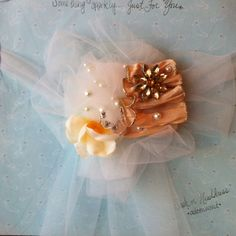 Tulle, ribbon, pearls, brooch, & sparkles headdress or sash. Pretty for garden wedding to high tea. *Adornments* by k.e. sims