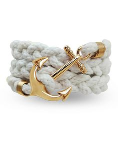 White & Gold Anchor Rope Bracelet