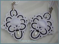 Fekete - fehér sujtás medálok - Black - white pendants soutache Black And White Pendants, Black White, Washer Necklace, Earrings, Jewelry, Fashion, Black And White, Ear Rings, Moda